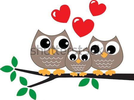 два Совы любви дизайна птица веб Сток-фото © popocorn