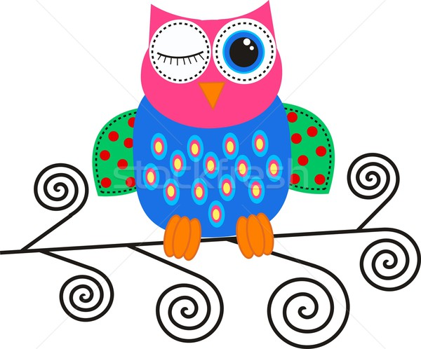 красочный декоративный совы аннотация дизайна фон Сток-фото © popocorn