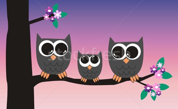 мало совы семьи цветок цветы девушки Сток-фото © popocorn