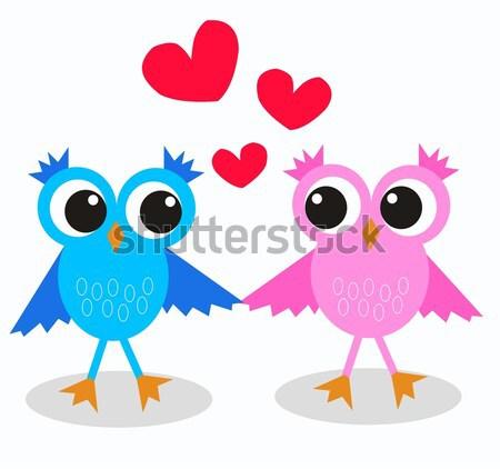 Amor abstrato arte pássaro aves cartão Foto stock © popocorn