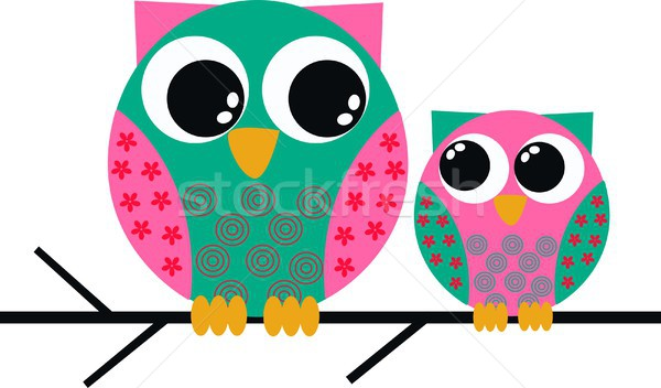 two sweet colorful owls  Stock photo © popocorn