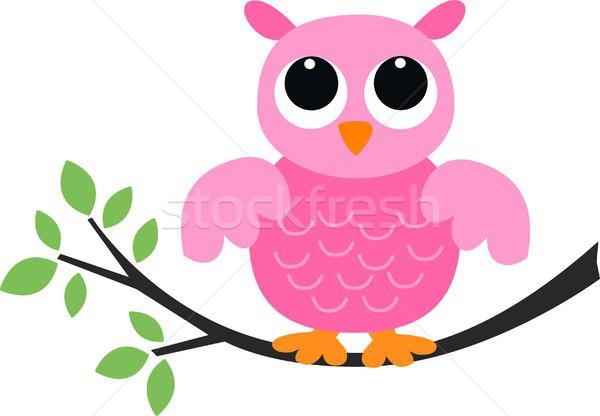 Sweet мало розовый совы семьи дерево Сток-фото © popocorn
