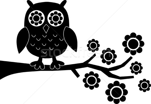 a silhoutte of a owl sitting on a branch Stock photo © popocorn