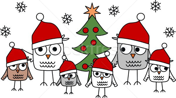 Foto stock: Alegre · natal · feliz · céu · árvore · amigos