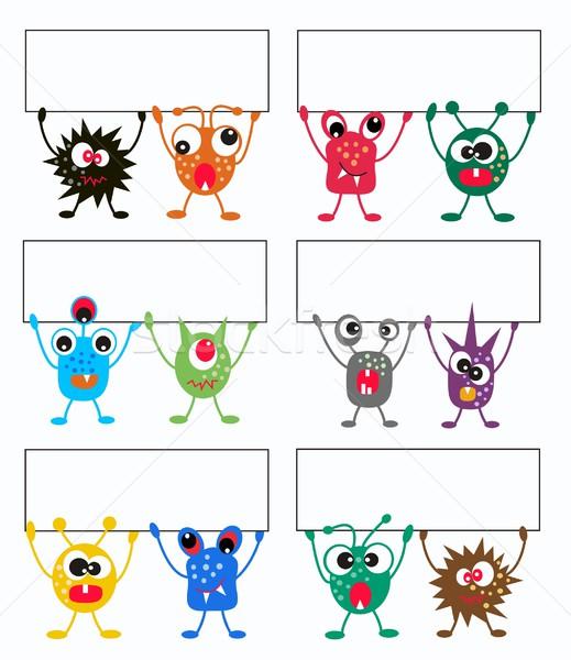 монстр Монстры плакат дизайна искусства синий Сток-фото © popocorn