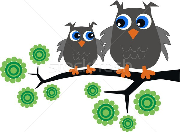 Dois doce coruja sessão ramo flor Foto stock © popocorn