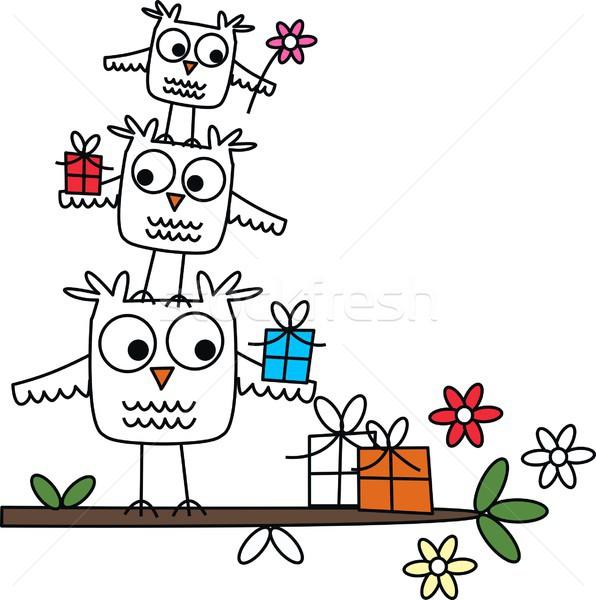 С Днем Рождения цветок семьи дерево счастливым синий Сток-фото © popocorn