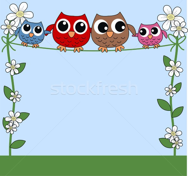 совы семьи цветок любви аннотация сердце Сток-фото © popocorn