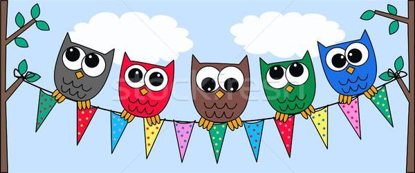 Kleurrijk uilen abstract ontwerp kunst vlag Stockfoto © popocorn