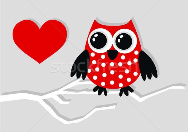 Stok fotoğraf: Tatlı · küçük · kırmızı · siyah · baykuş · sevmek