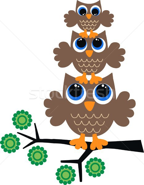 Drie zoete bruin uilen bloemen familie Stockfoto © popocorn