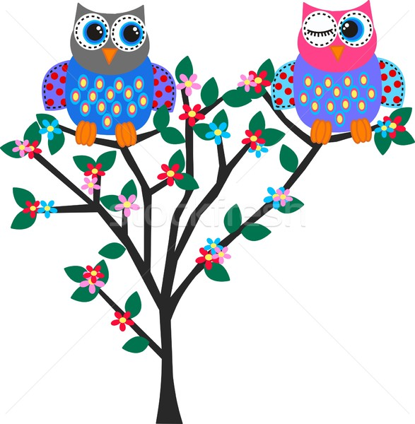 два Sweet красочный Совы аннотация дизайна Сток-фото © popocorn