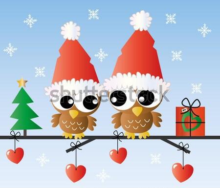 веселый Рождества счастливым небе друзей птица Сток-фото © popocorn