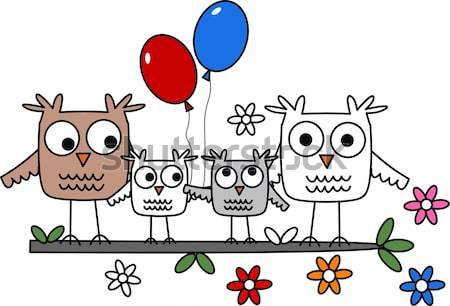 С Днем Рождения цветок аннотация дизайна птица птиц Сток-фото © popocorn