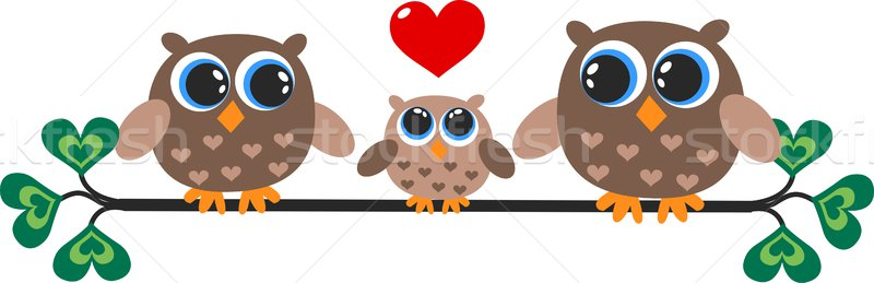 Coruja família amor abstrato coração projeto Foto stock © popocorn