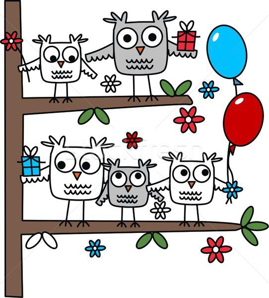 Сток-фото: совы · сидят · дерево · С · Днем · Рождения · другой · празднования