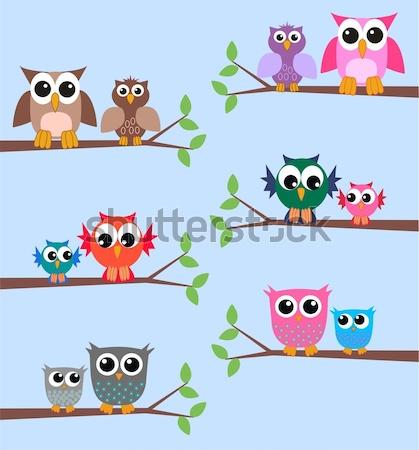 Chouette famille arbre nature fond oiseau Photo stock © popocorn