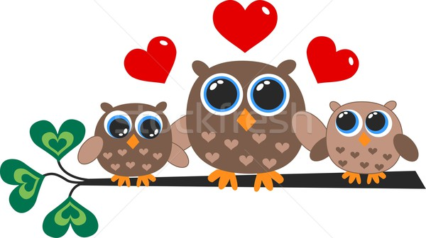 a cute little owl family Stock photo © popocorn
