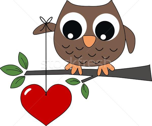 Foto stock: Doce · pequeno · marrom · coruja · grande · coração