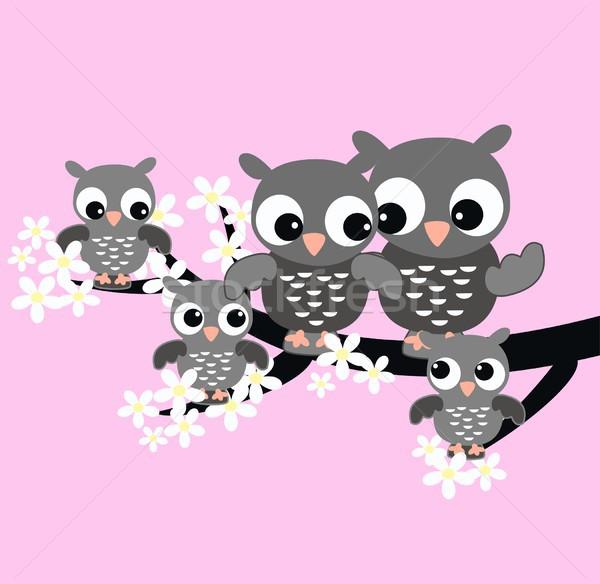 Cute uil familie bloem abstract ontwerp Stockfoto © popocorn