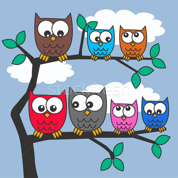 совы семьи дерево природы птица шаблон Сток-фото © popocorn