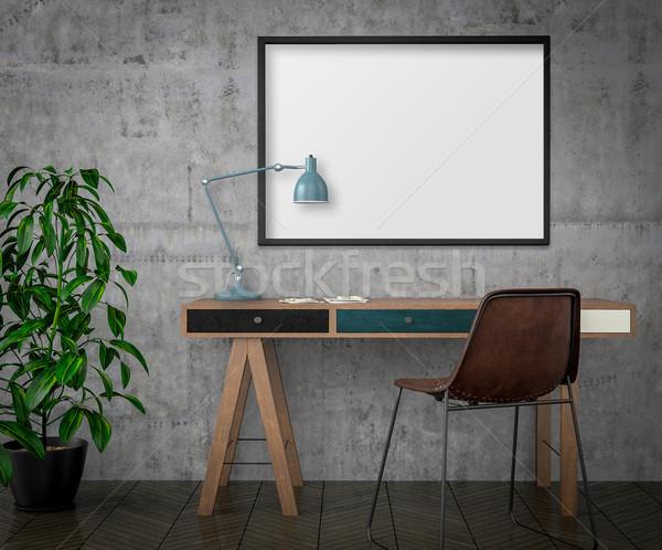 Felfelé poszter asztal szék 3d illusztráció Stock fotó © pozitivo