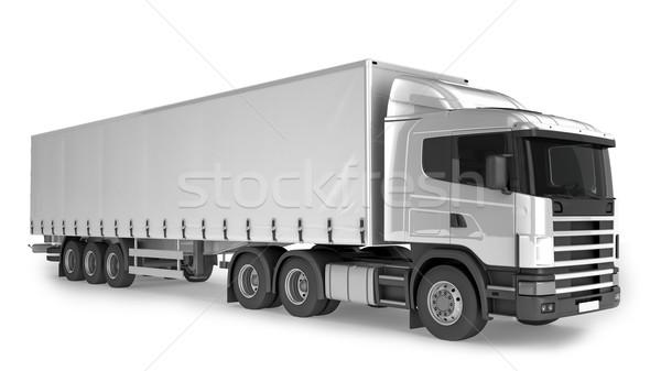 Nagy teher teherautó fehér izolált hely Stock fotó © pozitivo