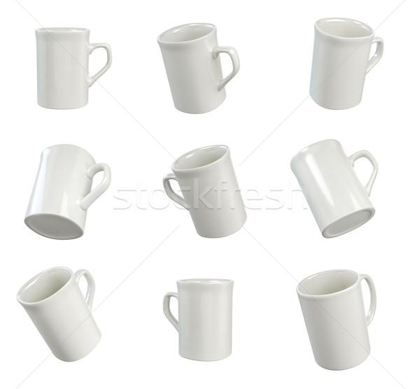 Felfelé fehér csészék könnyű hely logoterv Stock fotó © pozitivo