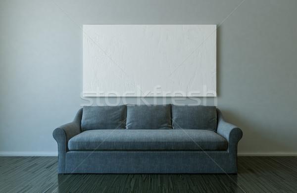 Vászon kanapé üres szoba vázlat 3d illusztráció festmény Stock fotó © pozitivo