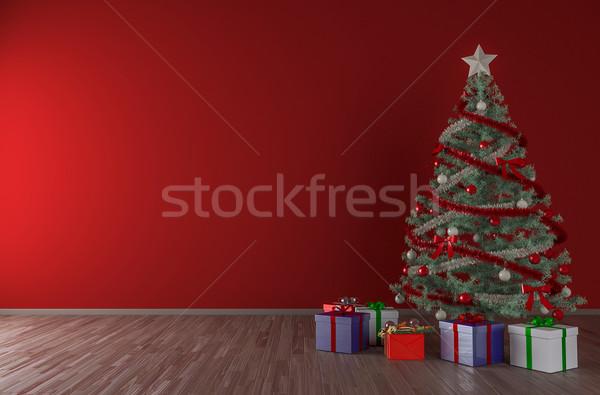 Karácsonyfa belső felfelé üres piros fal Stock fotó © pozitivo