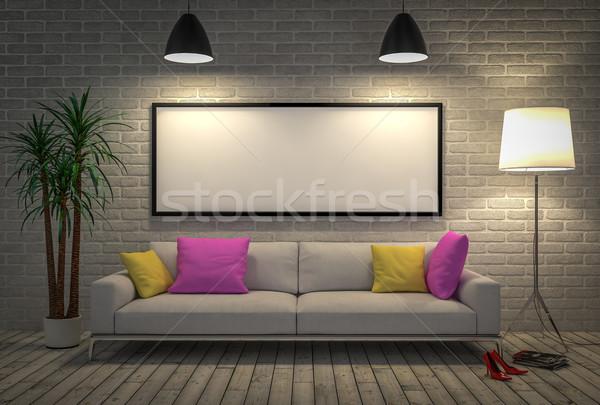 Felfelé poszter fal lámpa kanapé 3d illusztráció Stock fotó © pozitivo