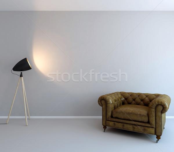 Parede arte criação vazio luz cadeira Foto stock © pozitivo