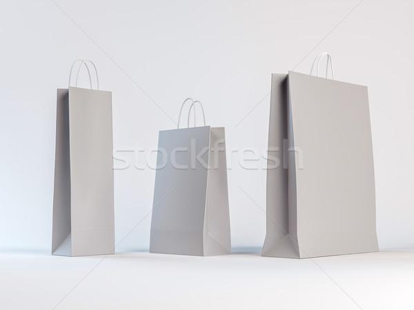 Papírzacskók fehér felfelé három különböző üres hely Stock fotó © pozitivo