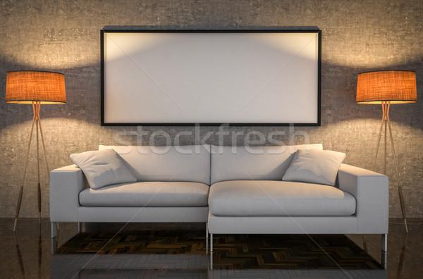 Felfelé poszter bőr kanapé beton fal Stock fotó © pozitivo