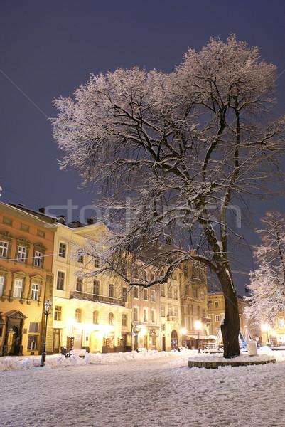 Nacht stad winter hout licht sneeuw Stockfoto © Pozn
