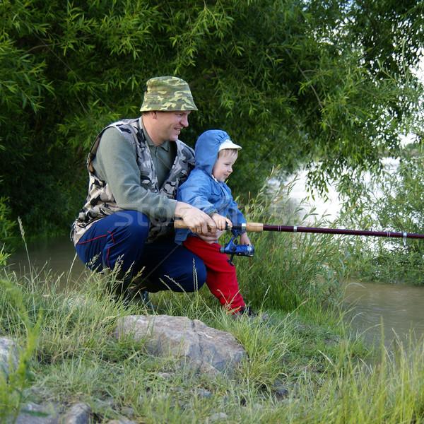 Twee hengel hout natuur kind mannen Stockfoto © Pozn