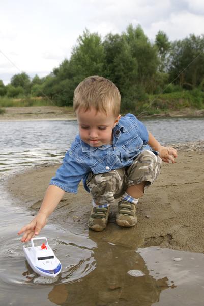 Jongen schip strand business natuur kind Stockfoto © Pozn