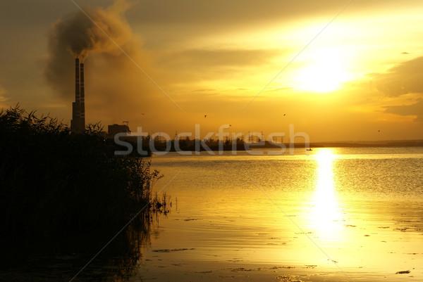 Natuur energiecentrale tijd zonsondergang wolken industrie Stockfoto © Pozn