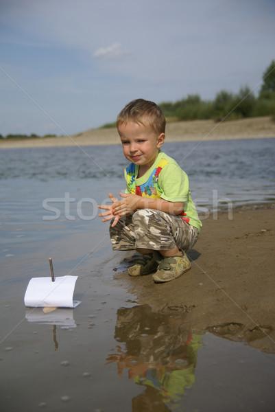 Jongen zeilboot strand business natuur kind Stockfoto © Pozn
