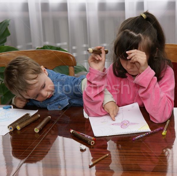 Tekening les broer zus samen trekken Stockfoto © Pozn