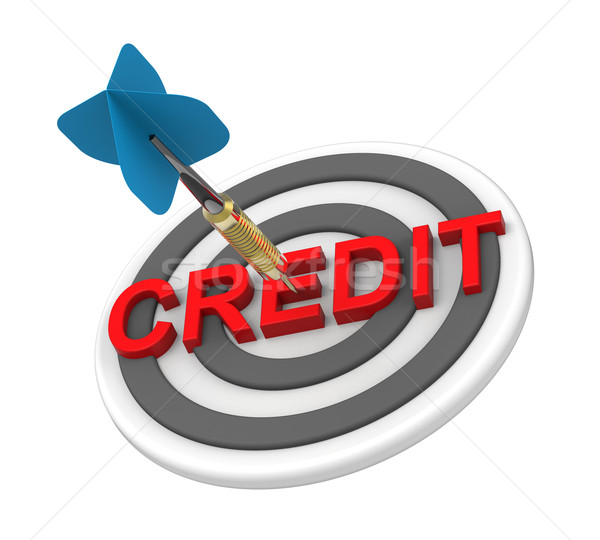 Blue dart in the target with credit text on it Stock photo © ppart