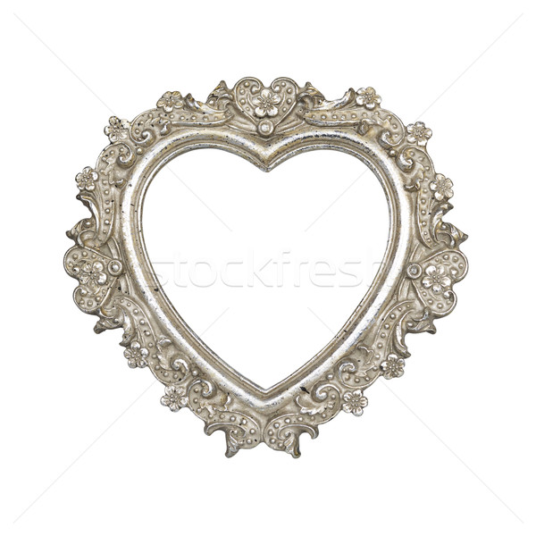 Stock photo: Old silver heart picture frame