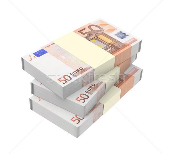 Euro para yalıtılmış beyaz bilgisayar oluşturulan Stok fotoğraf © ppart