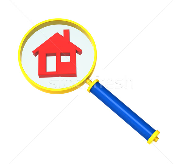 Magnifier with home icon isolated on white. Stock photo © ppart