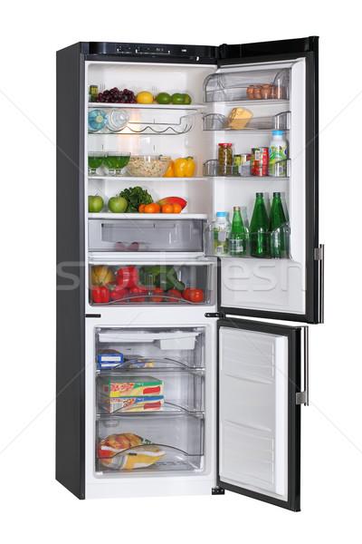Siyah buzdolabı iki kapı yalıtılmış beyaz Stok fotoğraf © ppart