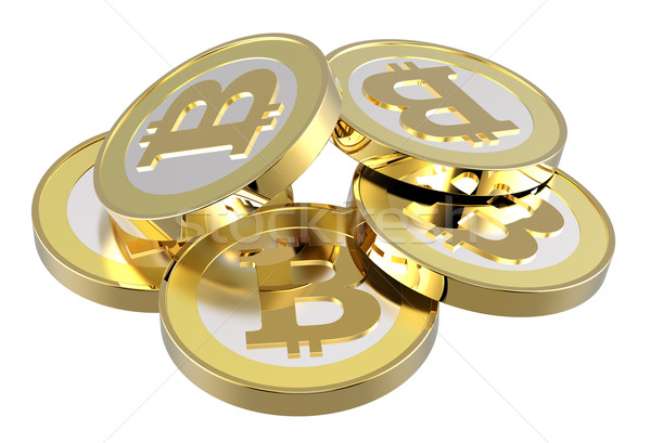 Stack of bitcoins isolated on white.  Stock photo © ppart