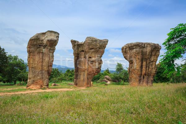 Trois détail paysage Rock pierre solaire Photo stock © prajit48