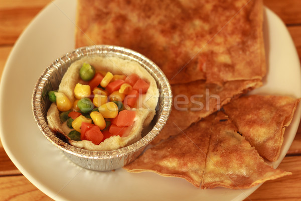 Kahvaltı güney ekmek beyaz plaka Stok fotoğraf © prajit48