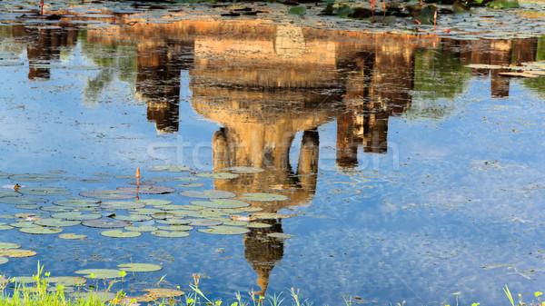 Buda heykel tapınak tarihsel park su Stok fotoğraf © prajit48