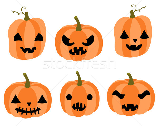 Stock photo: Cute vector set with cartoon carved pumpkins with faces with different expressions for Halloween inv